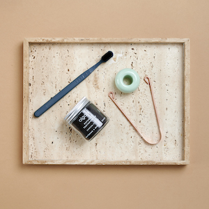 Sustainable Warrior - One Stand, one PLA toothbrush, one Tongue Cleaner, one Natural Toothpowder